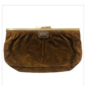 Vintage Phillippe Brown Suede Clutch 1970s-1980s